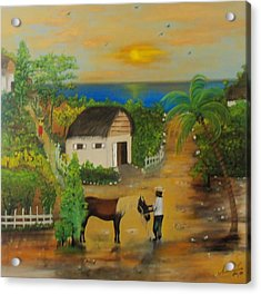Acrylic Print featuring the painting End Of The Day by Nicole Jean-Louis