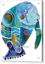 Acrylic Print featuring the painting Endangered Manatee by Jo Lynch