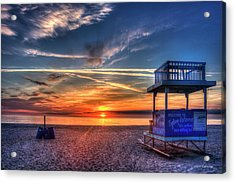 Acrylic Print featuring the photograph Endless Summer Sunrise Lifeguard Stand Tybee Island Georgia Art by Reid Callaway