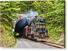 Engine 501 Coming Through The Brush Tunnel Acrylic Print by Jeannette Hunt