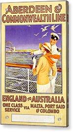 England To Australia Acrylic Print