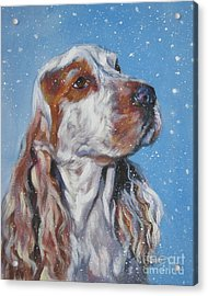English Cocker Spaniel In Snow Acrylic Print by Lee Ann Shepard