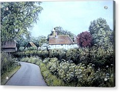 Acrylic Print featuring the painting English Country Lane by Rosemary Colyer