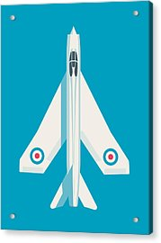 English Electric Lightning Fighter Jet Aircraft - Blue Acrylic Print by Ivan Krpan