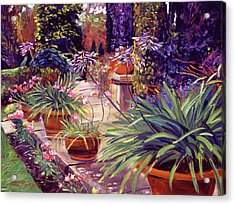 English Estate Patio Garden Acrylic Print by David Lloyd Glover