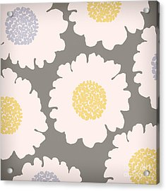 English Garden White Flower Pattern Acrylic Print