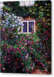 English Manor House Roses Acrylic Print by David Lloyd Glover