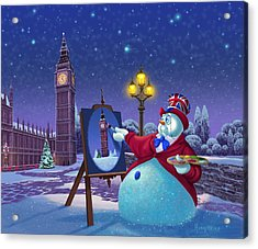 Acrylic Print featuring the painting English Snowman by Michael Humphries
