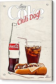 Enjoy Coca-cola With Chili Dog Acrylic Print