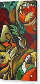 Acrylic Print featuring the painting Enjoying Food And Drink by Leon Zernitsky