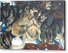 Acrylic Print featuring the painting Enjoying Their Prey by Koro Arandia