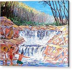 Enjoying Waterfall Acrylic Print by Narayan Iyer