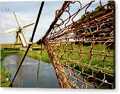 Acrylic Print featuring the photograph Enkhuizen Windmill And Nets by KG Thienemann