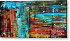 Enormous 3x5 Abstract Art Huge Original Contemporary Painting Into Autumn By Madart Acrylic Print by Megan Duncanson