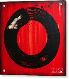 Enso With Koi Red And Gold Acrylic Print by Sandi Baker