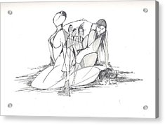 Entangled Women Acrylic Print by Padamvir Singh