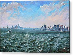 Entering In New York Harbor Acrylic Print by Ylli Haruni