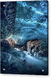 Entering The Ice Cave Acrylic Print by Peter Svoboda