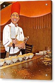 Entertaining Chef At Benihana In Monterey-california Acrylic Print