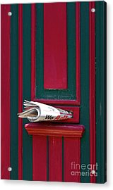 Entrance Door And Newspaper Acrylic Print by Heiko Koehrer-Wagner