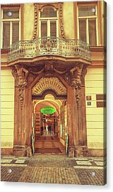 Acrylic Print featuring the photograph Entrance To Passage. Series Golden Prague by Jenny Rainbow