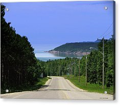 Entrance To The Town Of Marathon Ontario Acrylic Print by Laura Wergin Comeau