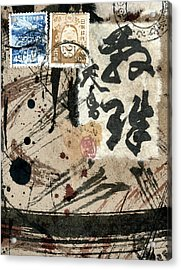 Envelope Collage With Japanese Postage Stamps Acrylic Print by Carol Leigh