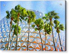 Epcot Palms Acrylic Print by Paul Bartoszek