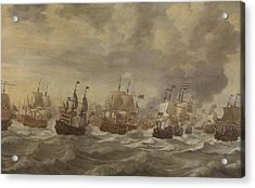 Episode From The Four Days' Naval Battle Of June 1666 Acrylic Print by Willem Van De Velde The Younger