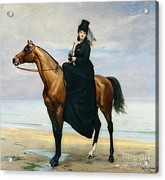 Equestrian Portrait Of Mademoiselle Croizette Acrylic Print by Charles Emile Auguste Carolus Duran