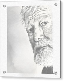 Acrylic Print featuring the drawing Ernest Hemingway by Antonio Romero