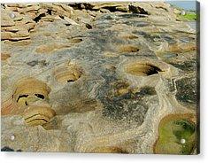 Eroded Beach Rocks Acrylic Print by David Campione
