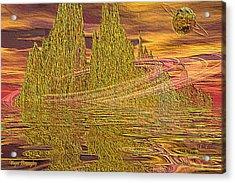 Eroding Gold Acrylic Print by Wayne Bonney