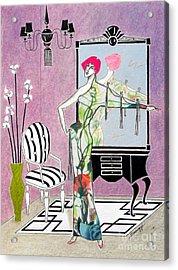 Erte'-esque -- Art Deco Interior W/ Fashion Figure Acrylic Print