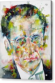 Acrylic Print featuring the painting Erwin Schrodinger - Watercolor Portrait by Fabrizio Cassetta
