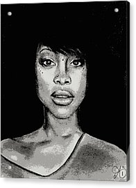 Erykah Baduism - Pencil Drawing From Photograph - Charcoal Pencil Drawing By Ai P. Nilson Acrylic Print