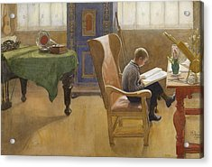 Esbjorn At The Study Corner Acrylic Print by Carl Larsson