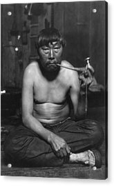 Eskimo Smoking Pipe, Photograph Acrylic Print by Everett
