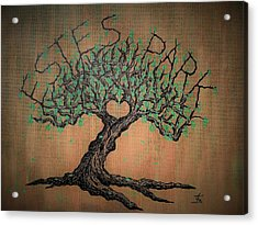 Acrylic Print featuring the drawing Estes Park Love Tree by Aaron Bombalicki
