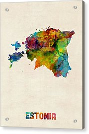 Estonia Watercolor Map Acrylic Print