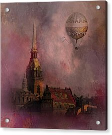 Acrylic Print featuring the digital art Stockholm Church With Flying Balloon by Jeff Burgess