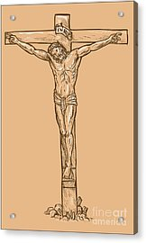 esus Christ hanging on the cross Acrylic Print by Aloysius Patrimonio