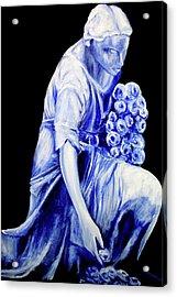 Flower Girl In Blue Acrylic Print