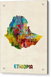 Acrylic Print featuring the digital art Ethiopia Watercolor Map by Michael Tompsett