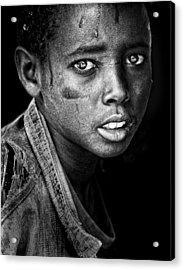 Ethiopian Eyes Bw Acrylic Print