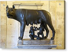 Etruscan Bronze Statue Of The She-wolf With Romulus And Remus. Capitoline Museum. Capitoline Hill. R Acrylic Print by Bernard Jaubert