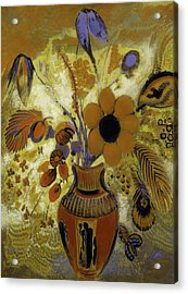 Acrylic Print featuring the painting Etrusian Vase With Flowers by Odilon Redon