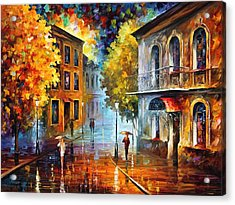 Etude In Red Acrylic Print by Leonid Afremov