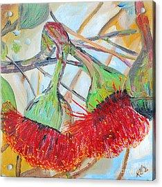 Acrylic Print featuring the painting Eucalyptus Flowers by Reina Resto