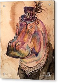 Acrylic Print featuring the painting Eunice Hippo by Christy  Freeman